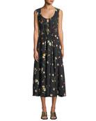 Sleeveless Scoop-Neck Botanical Floral-Print Silk Dress