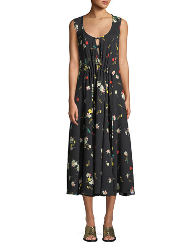 Sleeveless Scoop-Neck Botanical Floral-Print Silk Dress