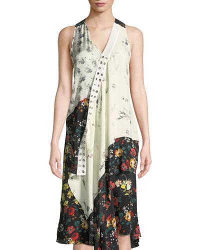 Sleeveless Mixed-Print Asymmetric Silk Top