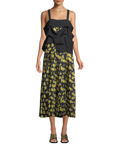 Sleeveless Draped Panel Cami Floral-Print Pleated Silk Dress