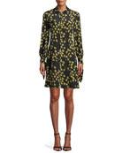 Derek Lam Tie-Cuffs Button-Front Floral-Print Silk Shirtdress w/