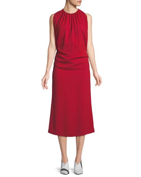 Derek Lam Shirred Mock-Neck Sleeveless Crepe Cocktail Dress