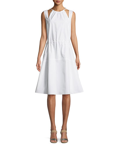 Sleeveless Halter Cotton Cami Dress w/ Seamed Skirt