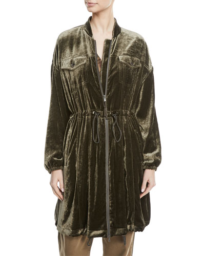 Zip-Front Drawstring-Waist Long-Sleeve Liquid Velvet Jacket
