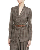 Brunello Cucinelli Peak-Lapel Plaid Virgin Wool Blazer with