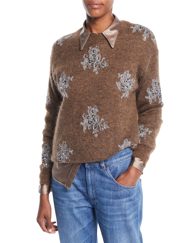 Mohair-Alpaca Crewneck Sweater with Sequin-Lace Applique