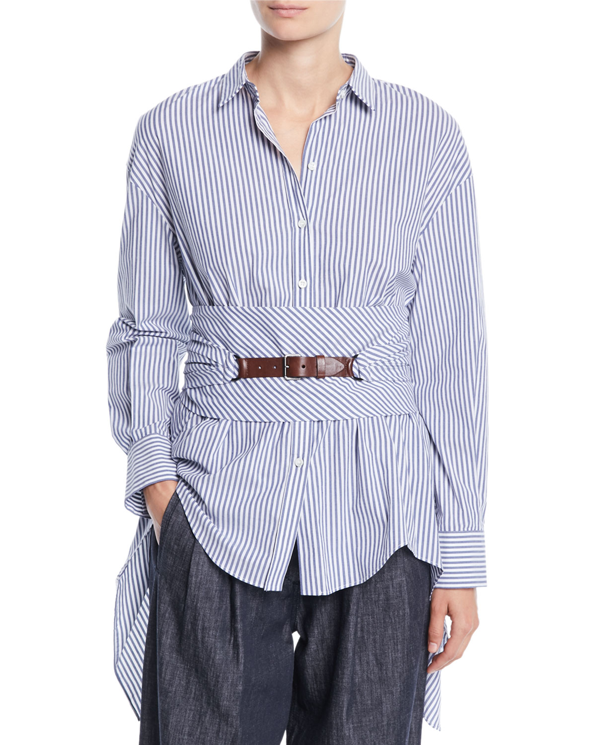 Button-Down Striped Cotton Poplin Blouse with Wrap Belt