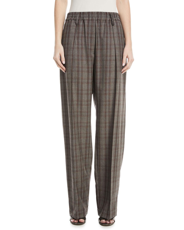 Elasticized-Waist Plaid Wool Pull-On Pants w/ Monili Belt Loop