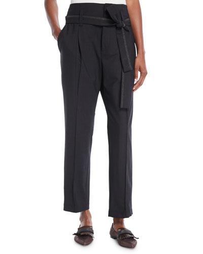 Paperbag-Waist Lightweight-Wool Straight-Leg Pants w/ Wrap Self Belt