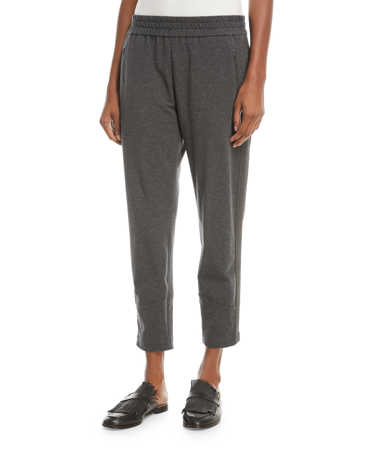 Cropped Cotton Jogger Pants with Monili Racing Stripes