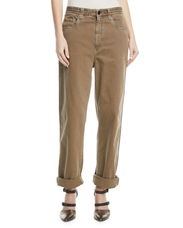 Garment-Dye Denim Pants with Monili 4-Track Side Detail