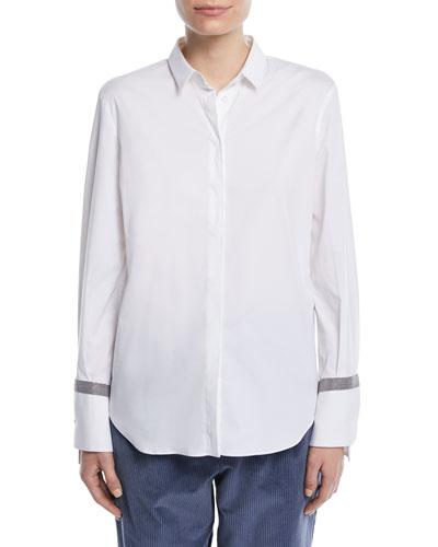 c0d1fe6e44e484 White Cotton Spandex Shirt | Neiman Marcus
