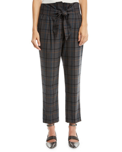 High-Waist Tie-Front Tapered-Leg Plaid Wool Pants