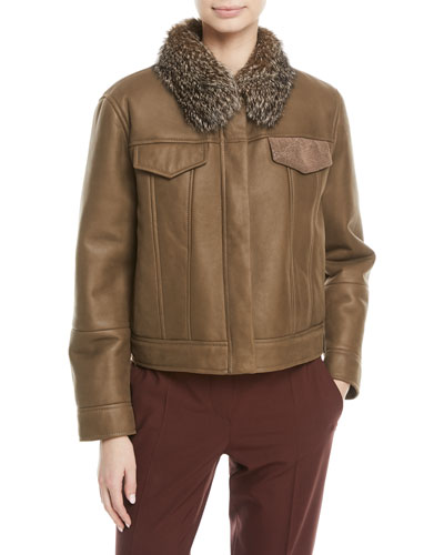 Cropped Shearling Leather Jacket with Fox Fur Collar