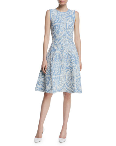 Sleeveless Knitted Jacquard Fit-and-Flare Knee-Length Dress