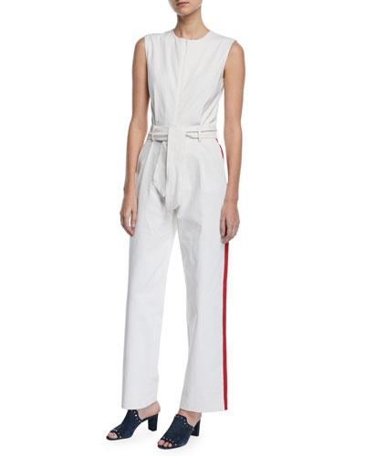 Job Sleeveless Zip-Front Racer-Stripe Belted Cotton Jumpsuit