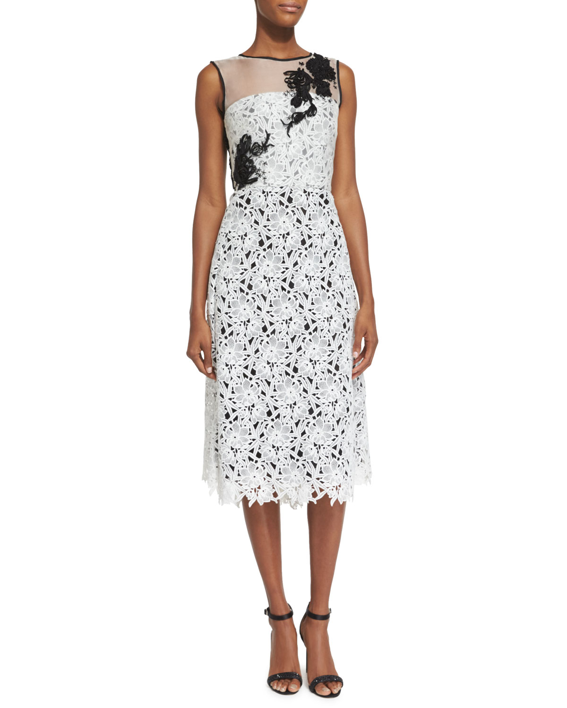 Sleeveless Lace Cocktail Dress, White/Black