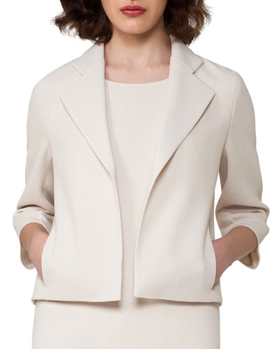 Bracelet-Sleeve Cropped Wool-Crepe Jacket