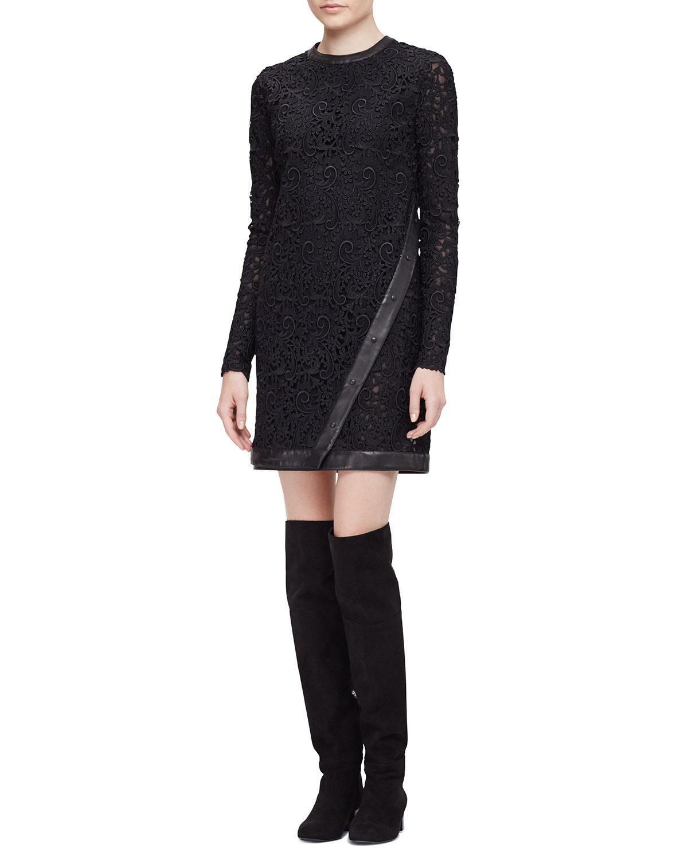 Long-Sleeve Faux-Wrap Dress, Black