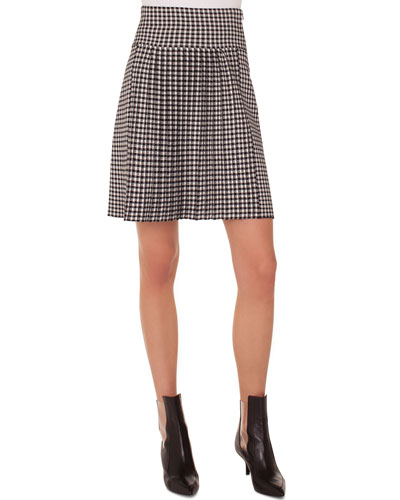 Glen-Check Pleated A-Line Knit Skirt