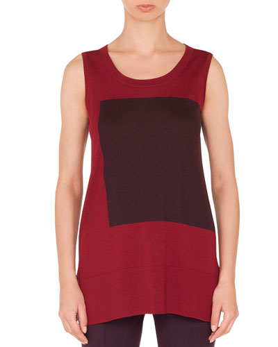 Square-Panel Round-Neck Sleeveless Wool Knit Top
