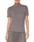 Turtleneck Short-Sleeve Check Knit Top