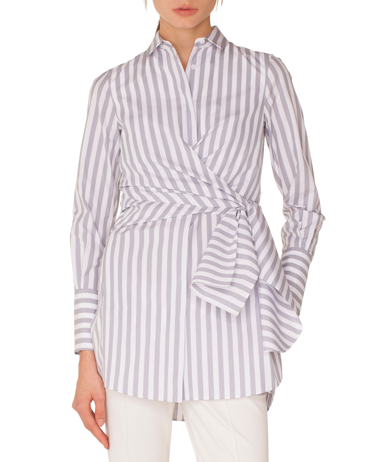 Long-Sleeve Button-Down Wrap-Waist Striped Tunic Blouse