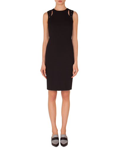 Sleeveless Cutout-Shoulder Knee-Length Jersey Sheath Dress