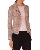 Zip-Front Tweed Jacket w/ Frayed Edge