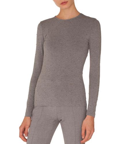 Round-Neck Long-Sleeve Studded Jersey Knit Top