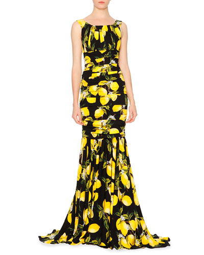 Sleeveless Pleated Lemon Gown, Yellow/Black