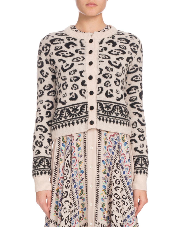 ALTUZARRA Meknes Leopard-Pattern Wool-Blend Crop Cardigan - Fawn Size L in Neutrals