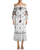 Figue Helens Off-the-Shoulder Embroidered Cotton Voile Dress