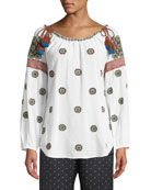 Figue Boat-Neck Embroidered Cotton Voile Peasant Top w/