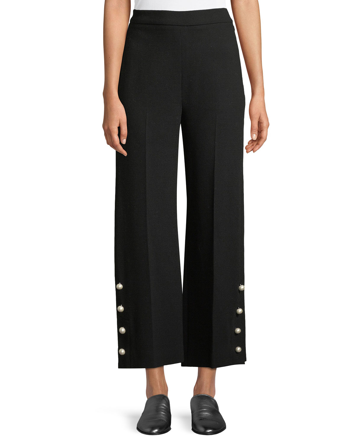 Cropped Wide-Leg Pants w/ Pearlescent Buttons