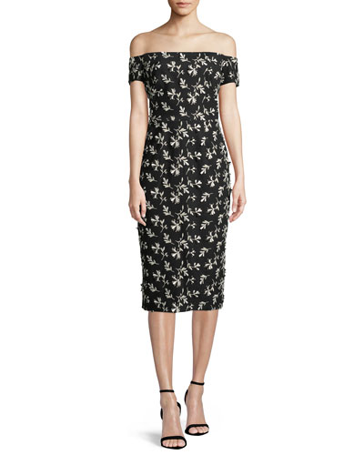 Off-the-Shoulder Bow-Back Floral-Embroidered Sheath Dress
