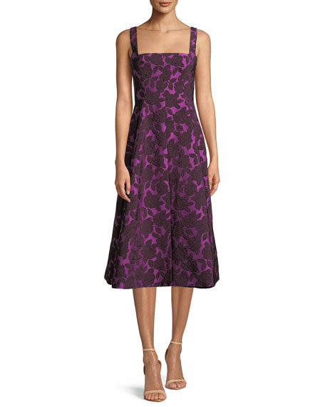 Lela Rose Square-Neck Sleeveless Floral-Jacquard Fit-and-Flare Dress