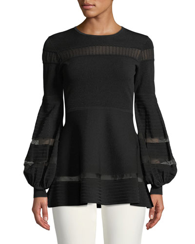Full-Sleeve Knit Top w/ Lace Trim