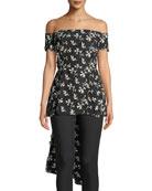 Off-the-Shoulder Bow-Back Floral-Embroidered Top
