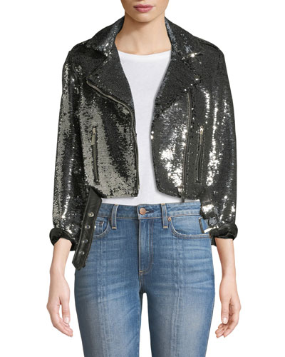 Sequined Cropped Biker Jacket