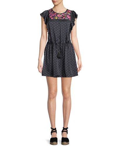 Theresa Aztec-Dot Floral-Embroidered Bib Cap-Sleeve Silk Satin Dress