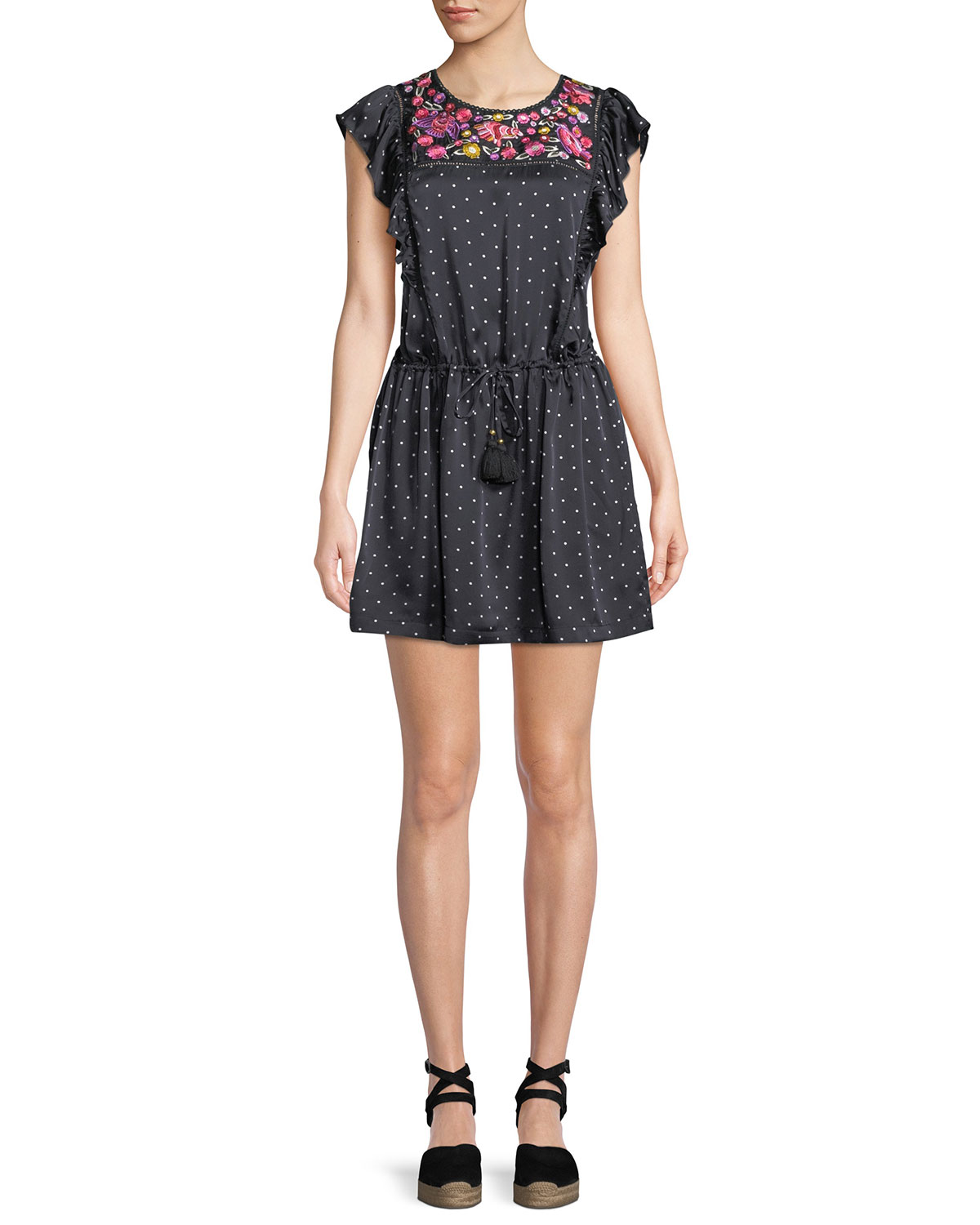 FIGUE Theresa Aztec-Dot Floral-Embroidered Bib Cap-Sleeve Silk Satin Dress in Black
