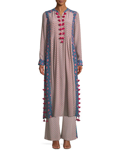 Rumi Long-Sleeve Floral-Print Silk Crepe de Chine Maxi Dress