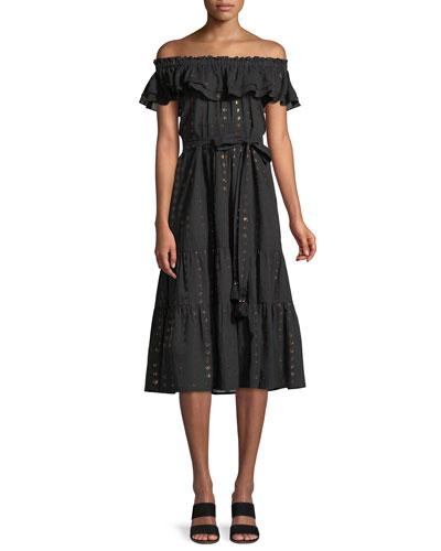 Brynn Off-the-Shoulder Metallic-Heart A-Line Dress