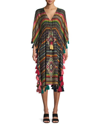 Figue Amirta V-Neck Long-Sleeve Striped Silk Kaftan