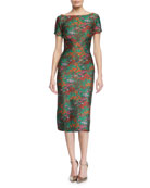 Wildflower Jacquard Short-Sleeve Sheath Dress