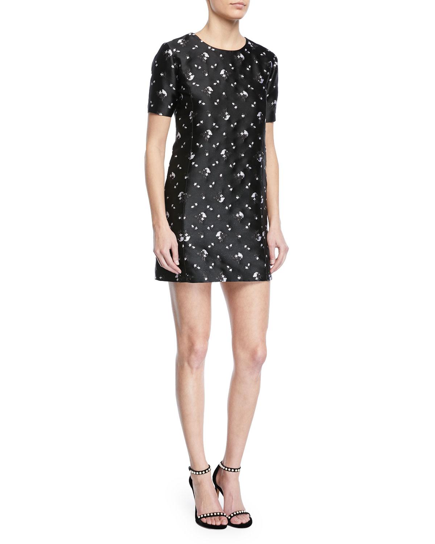 Floral Embroidered Gazar Shift Dress - Black Size 8