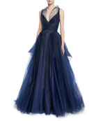 Pleated Tulle Sleeveless Gown w/ Full Skirt