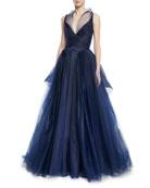 Pleated Tulle Sleeveless Gown w/ Full Skirt