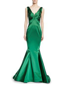 V-Neck Stretch Satin Trumpet Gown